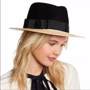 Kate spade wool crown straw brim fedora hat